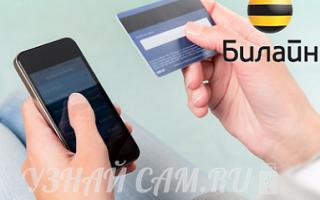 Положить на счет билайн с банковской карты